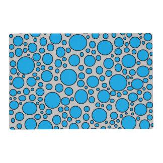 Blue and Black Polka Dots Grey Laminated Placemat