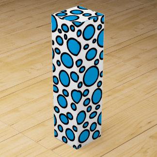 Blue and Black Polka Dots Wine Gift Box