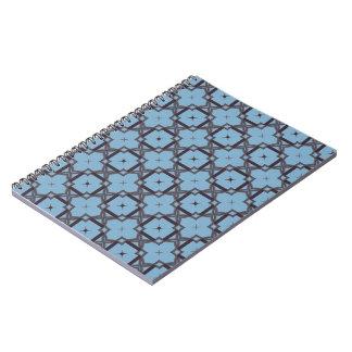 Blue and Black Quatrefoil Spiral Notebook