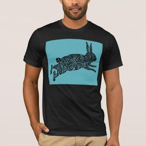 Blue and Black Rabbit Tribal Design T-Shirt