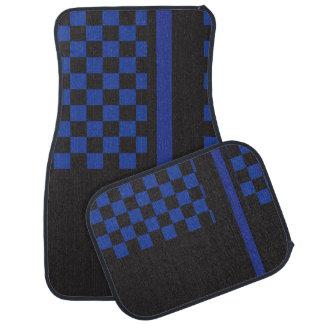 Blue and Black Racing Stripe | Monogram Car Mat