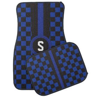 Blue and Black Racing Stripe   Monogrammed Car Mat