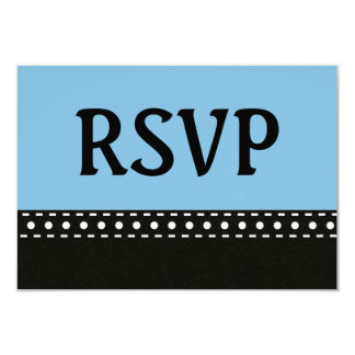Blue and Black RSVP Stitches and Polka Dots V10B Card