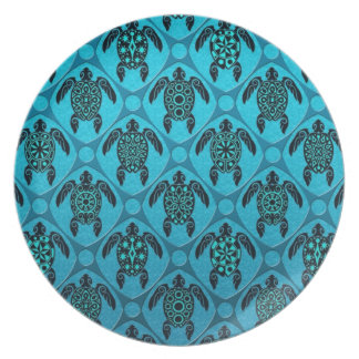 Blue and Black Sea Turtle Pattern Party Plates