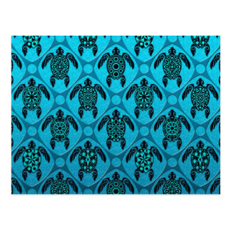Blue and Black Sea Turtle Pattern Postcards