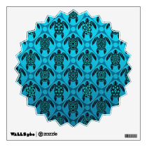 Blue and Black Sea Turtle Pattern Wall Decal