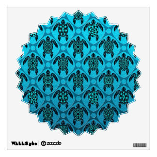 Blue and Black Sea Turtle Pattern Wall Stickers
