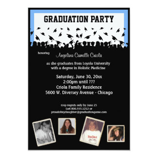 Blue And Black Silhouette Graduation Party 5x7 Paper Invitation Card