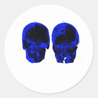 Blue and Black Skulls Round Stickers