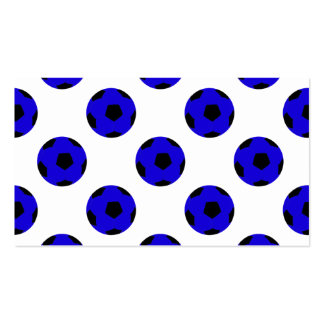 Blue and Black Soccer Ball Pattern Business Card