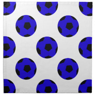 Blue and Black Soccer Ball Pattern Cloth Napkin