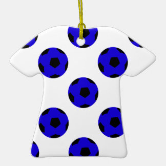 Blue and Black Soccer Ball Pattern Double-Sided T-Shirt Ceramic Christmas Ornament