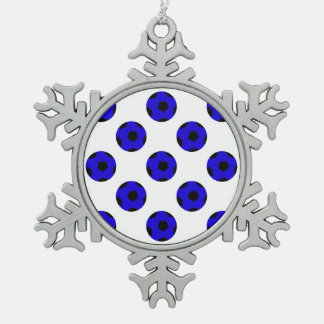 Blue and Black Soccer Ball Pattern Snowflake Pewter Christmas Ornament