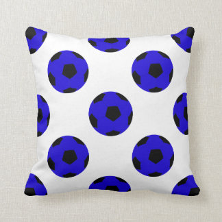 Blue and Black Soccer Ball Pattern Throw Pillow