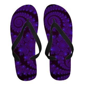 Blue and Black Spiral Fractal Sandals