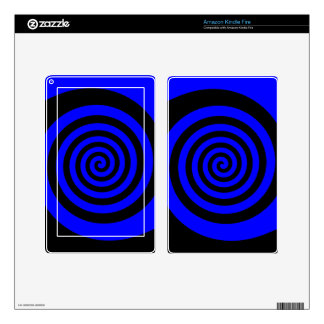 Blue and Black Spiral Kindle Fire Decal
