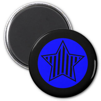 Blue and Black Star Round Magnet