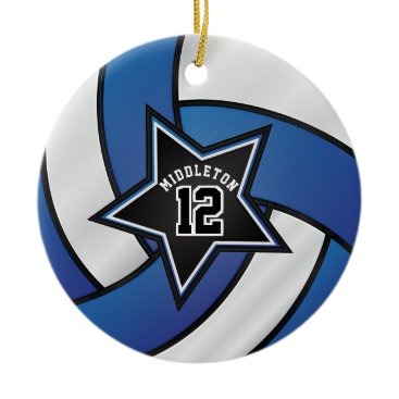 Beach Themed Blue and Black Star Volleyball Ceramic Ornament