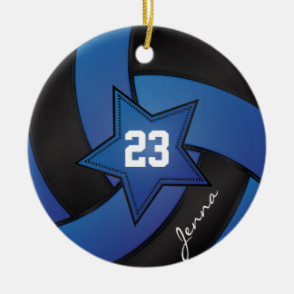 Blue and Black Star Volleyball Ceramic Ornament