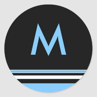 Blue and Black Stripe Monogram Sticker