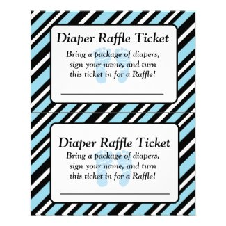 Blue and Black Striped Baby Shower Raffle Ticket