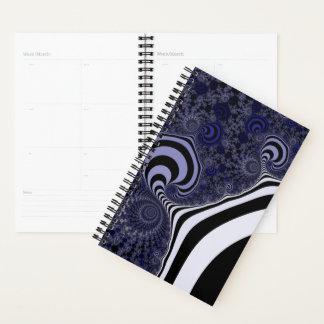 Blue and black striped fractal. planner