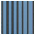 [ Thumbnail: Blue and Black Striped/Lined Pattern Fabric ]