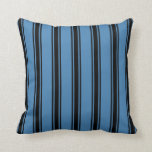 [ Thumbnail: Blue and Black Striped/Lined Pattern Throw Pillow ]
