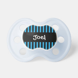 Blue and Black STRIPES Baby Boy Custom Name V04 Baby Pacifiers