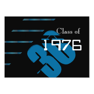 Blue and black stripes Class reunion party Card