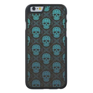 Blue and Black Sugar Skull Pattern Carved® Maple iPhone 6 Slim Case