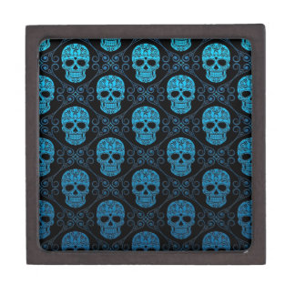 Blue and Black Sugar Skull Pattern Gift Box