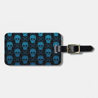 Blue and Black Sugar Skull Pattern Luggage Tag