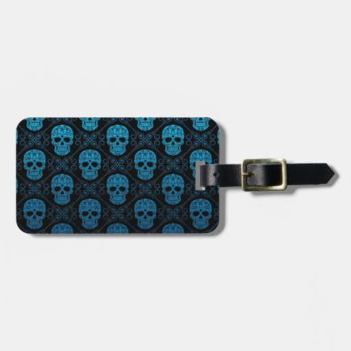 Blue and Black Sugar Skull Pattern Tag For Bags