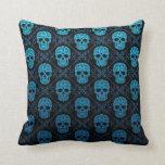 Blue and Black Sugar Skull Pattern Pillows