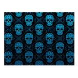 Blue and Black Sugar Skull Pattern Postcard