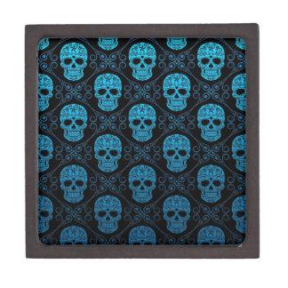 Blue and Black Sugar Skull Pattern Premium Trinket Boxes
