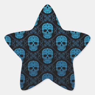 Blue and Black Sugar Skull Pattern Star Sticker
