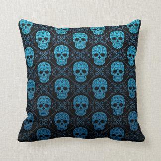 Blue and Black Sugar Skull Pattern Throw Pillow