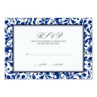 Blue and Black Swirl Damask Wedding Response Card
