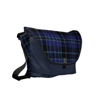 Blue and Black Tartan Plaid Messenger Bag