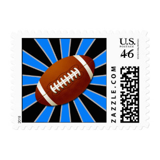 Blue and Black Team Colors Retro Football Stamps