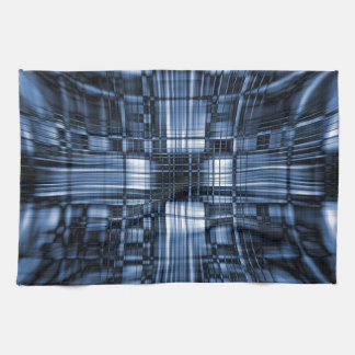 Blue and black tech lines kitchen towel