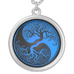 Blue and Black Tree of Life Yin Yang Round Pendant Necklace