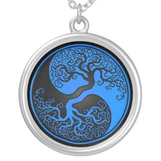 Blue and Black Tree of Life Yin Yang Silver Plated Necklace