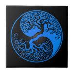 Blue and Black Tree of Life Yin Yang Tiles