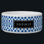 """Blue and Black Trellis Monogram Bowl<br><div class=""""desc"""">Cute customized cat or dog food bowl with a blue imperial trellis pattern and rectangle frame placeholder for your beloved pet&#39;s name.</div>"""