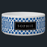 "Blue and Black Trellis Monogram Bowl<br><div class=""desc"">Cute customized cat or dog food bowl with a blue imperial trellis pattern and rectangle frame placeholder for your beloved pet&#39;s name.</div>"