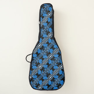 Blue and Black Tribal Pattern Guitar Case