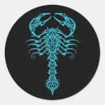 Blue and Black Tribal Scorpion Classic Round Sticker